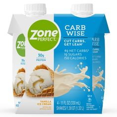ZonePerfect Carb Wise High-Protein Shakes, Vanilla Ice Cream Flavor, For A Low Carb Lifestyle, With 30g Protein, 11 fl oz, 12 Count Protein Ice Cream, Ice Cream Flavors, Vanilla Ice Cream, Protein Shakes, High Protein Drinks, Chocolate Marshmallows, Protein Supplements, No Carb Diets, Low Carb