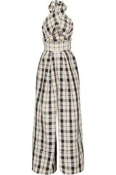 Rosie Assoulin - Artichoke Hearts Cutout Checked Cotton And Linen-blend Jumpsuit - Ecru - US