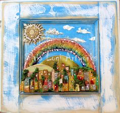 #raimbow #landscape in #wood and #pencils #mosaic, see more on my Fb page https://www.facebook.com/pages/Silvia-Logi-Artworks/121475337893535?ref=br_rs