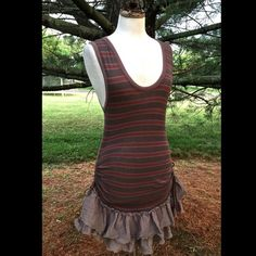 "Selling this ""Free People WTF taupe red striped ruffle Dress M"" in my Poshmark closet! My username is: richbororiches. #shopmycloset #poshmark #fashion #shopping #style #forsale #Free People #Dresses & Skirts"