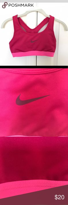 NIKE sports bra Magenta bra with pink band and maroon logo, Worn a few times but in great condition! Nike Intimates & Sleepwear Bras