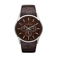 6ea38fec2e7 Skagen Brown Dial Stainless Steel Case Brown Leather Strap Mens Watch  SKW6001