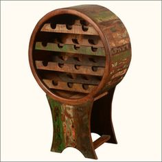Unique Rustic Reclaimed Wood Liquor Wine Storage Rack For 14 Bottles