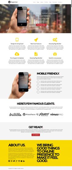 Landing Page web design clean and modern example of superior wordpress theme.