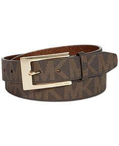cfa330d05c8ae Michael Kors Women s Mk Gold Logo Buckle Belt Brown Khaki 554455 (Small) –  Todays Shopping