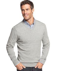 John Ashford Big and Tall Solid Long-Sleeve V-Neck Sweater
