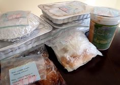 Nine freezer meals ready to go!! Recipes and grocery list included.