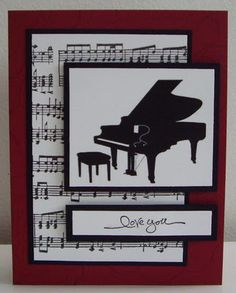 Learn To Play Piano - A Complete Beginners Guide.Intro: 7 Steps to Learn How to Play Piano. Musical Cards, Music Crafts, Cricut Cards, Scrapbook Cards, Scrapbooking, Handmade Birthday Cards, Masculine Cards, Creative Cards, Diy Cards