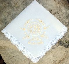 Lace crochet edge hanky with delicate rolled hem ~ sweet eyelet design and monogram, date.  Tissue & gift box included, $29.50