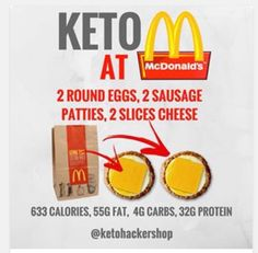 Keto at McDonald's. Keto tips and tricks. Healthy Fast Food Restaurants, Fast Healthy Meals, Healthy Eating, Fast Foods, Healthy Food, Healthy Life, Macros, Penne, Keto Diet Plan