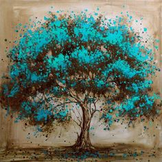 Hand Painted Modern Tree Art Decoration Oil Painting On Canvas Landsacpe Wall…