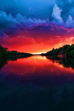 ♂ Sunset, sunrise reflection fire sky colorful nature