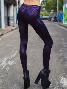 Geometric Floral Violet Leggings - LIMITED (WW $80AUD / US $64USD) by Black Milk Clothing