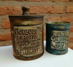 Altered Tins, Paint Party, Chalk Paint, Decoupage, Projects To Try, Pasta, Painting, Metal, Home Decor