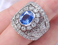 ESTATE 2.60ct OLD DIAMOND 3.75ct CEYLON SAPPHIRE RING