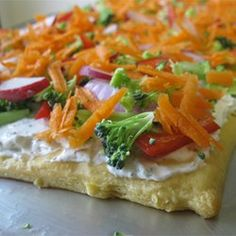 Veggie Pizza - Allrecipes.com. everyone loved this. For veggies I did cauliflower, broccoli, shredded carrots, red onion and green pepper.