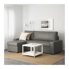 VILASUND Slaapbank met chaise longue - Borred grijsgroen - IKEA