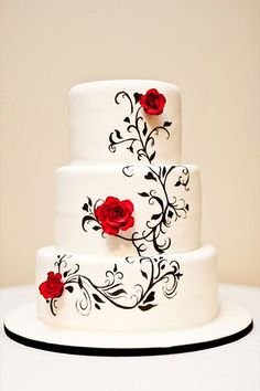 wedding cakes fondant beatiful wedding cakes whate black cake with red roses cake central Beautiful Wedding Cakes, Gorgeous Cakes, Pretty Cakes, Amazing Cakes, Cake Central, Fondant Wedding Cakes, Fondant Cakes, Cake Wedding, Wedding Cake Designs