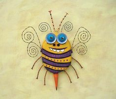 Bee Nice Original Found Object Sculpture Wall Art by FigJamStudio