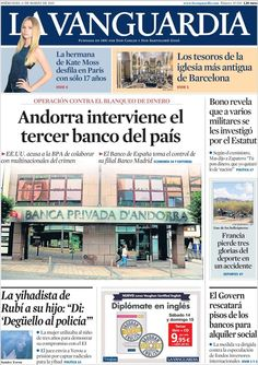 Diario LA VANGUARDIA del 11 de Marzo 2015 Recordamos que pueden visualizar cada día las principales portadas titulares ocurridos en España - Catalunya - Barcelona en http://www.youtube.com/vendopor