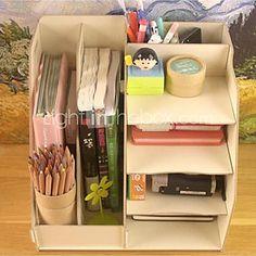 DIY Multifuncional madera sólida Organizador de escritorio 2016 - R$136.86