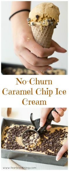 This No-Churn Caramel Chip Ice Cream is super easy to make. You can watch this video to show you how easy it is. Recipe at www. Frozen Strawberry Desserts, Frozen Desserts, Fun Desserts, Delicious Desserts, Dessert Recipes, Frozen Treats, Frozen Fruit, Frozen Cookies, Fruit Dessert