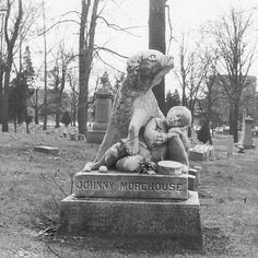 A very sad memorial to a boy who drowned in an icy canal in Dayton, and the dog who tried to save him, but couldn't. Evidently the dog mourned his friend so much that he wouldn't leave the boy's grave and died of sorrow. Woodland Cemetery-Dayton, OH Cemetery Monuments, Cemetery Headstones, Old Cemeteries, Graveyards, Cemetery Angels, Pet Cemetery, Cemetery Statues, Famous Graves, After Life