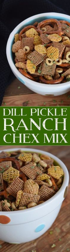 Back to school snack options were made easy with this Dill Pickle Ranch Chex Mix! Trail Mix Recipes, Snack Mix Recipes, Snack Mixes, Dill Recipes, Appetizer Recipes, Easy Recipes, Easy Snacks, Yummy Snacks, Yummy Food