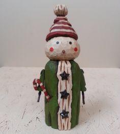 Super Cute Snowman Primitive Folk Art by JoyHallFolkArt on Etsy