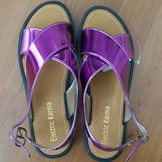Electric Karma Sandals Shiny purple sandals, brand is electric karma Shoes Sandals