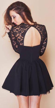 Open back little black dress
