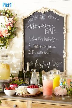 Let your Easter brunch guests become mixologists with a make-your-own Mimosa bar. Write the instructions on a vintage-style chalkboard and lay out the ingredients. A little sweeter? A little stronger? Let them play with it! Click the picture for more Easter ideas and inspiration from Pier 1.