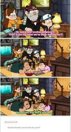 Gravity Falls characters, parody, funny, text, quote, comic, TV, twin brother, Grunkle Stan; Gravity Falls