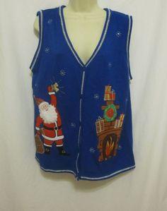 Fireside Santa Blue Ugly Christmas Sweater Vest Fireplace XL 16 18 Presents