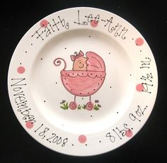 Hand Painted Baby Plate  Sweet Baby Girl in by cutiepatooties1, $39.50