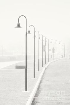 The street lamps in the dock of Senigallia, Italy in a vintage black and white