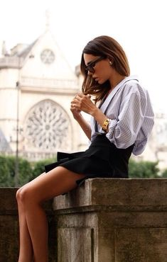 .Black skater skirt and button down shirt