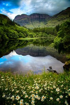 Bidean Nam Bian, Glencoe, Scotland - Another picture of the small loch, by the B+B we stayed in, at Glencoe, with Bidean Nam Bian in the background.