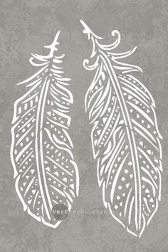 Sjabloon Boho Feathers | verftechnieken.nl Feather Stencil, Feather Drawing, Feather Art, Spray Paint Stencils, Stencil Art, Stencil Designs, Silkscreen, Scroll Saw Patterns, Bike Art