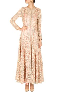 Beige embroidered long jacket with inner BY SVA. Maybe a bit longer so you can Pajami. Western Dresses, Indian Dresses, Women's Dresses, Indian Attire, Indian Wear, Indian Style, Pakistani Outfits, Indian Outfits, Desi Clothes