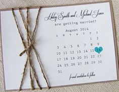 Rustic Burlap Twine Save the Date Calendar Card by LoveofCreating, $3.00