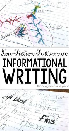 """Teach first graders to use non-fiction features in their informative writing like """"real"""" authors do! Writing Lessons, Writing Resources, Teaching Writing, Writing Activities, Writing Skills, Writing Rubrics, Paragraph Writing, Persuasive Writing, Reading Strategies"""