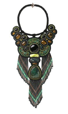 Bib-Style Necklace with Black Onyx and Turquoise Gemstone Cabochons and Beads and Seed Beads