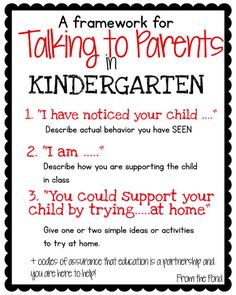 to Parents Frog Spot: Talking to Parents in kindergarten: Three step process. recommended by Charlotte's ClipsFrog Spot: Talking to Parents in kindergarten: Three step process. recommended by Charlotte's Clips Kindergarten Teachers, Kindergarten Classroom, Classroom Activities, Classroom Ideas, Kindergarten Activities, Class Activities, Kindergarten Reading, Classroom Organization, Parent Teacher Communication