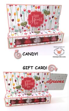 "Combination treat box/gift card holder in a Valentine's theme created by Stamp Crab! Stampin' Up! supplies used include Painted Blooms DSP (137784), Blushing Bride Cardstock (131198), Tags 4 You Wood Mount Stamp Set (131820), Rose Red Ink (126954), Modern Label Punch (119849), Label Bracket Punch (132153), Window Sheets (114323). YouTube tutorial by StampingWithAmore (""Christmas Cheer Treat/ Gift Card Box"")."