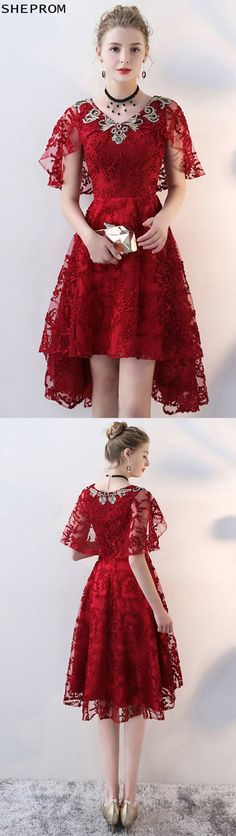 2372e5a744333 Burgundy Red Lace Short Party Dress Vneck with Cape Sleeves  BLS86032 at  SheProm.