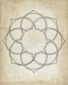 Geometric art illustration giclee art archival print beige tan wall art 8x10 11x14 'Geometry Sketch Eleven'