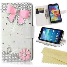 FoneExpert/® Bling Luxury Diamond Leather Wallet Book Kickstand Bag Case Cover For Apple iPhone 5C iPhone 5C Case White
