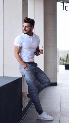 Männer mode White Polo Shirt Outfit Concepts For Males # White Polo Shirt Outfit, Polo Shirt Outfits, Polo Shirt Style, Polo Shirts, Polo Outfit, Mens White Outfit, Shirts For Men, Man Outfit, Summer Outfits Men