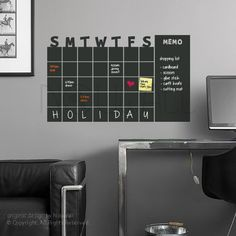 So cool!! Chalkboard Wall Calender - Monthly Planner - use with Rewriteable Chalk Ink Pen - Modern day Wall Decal Sticker for Home and Office by NouWall